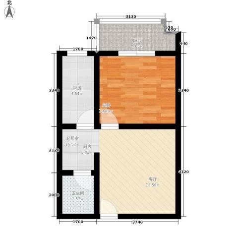 鸿铭中心南苑1室0厅1卫1厨57.00㎡户型图