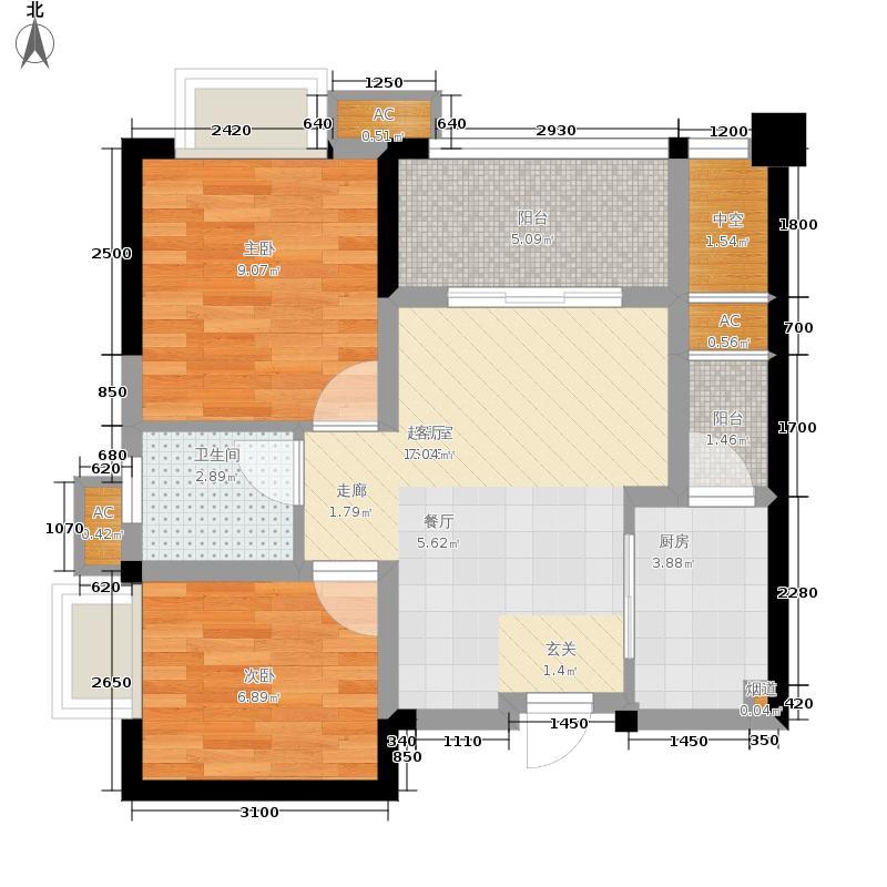 顺祥壹街区63.83㎡一期B3栋标准面积6383m户型
