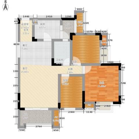 爱情谷2室0厅1卫1厨76.00㎡户型图