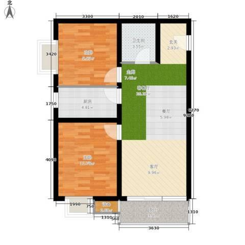 湾仔城2室1厅1卫1厨88.00㎡户型图