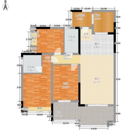 中瓯璧河名都3室0厅2卫1厨138.00㎡户型图