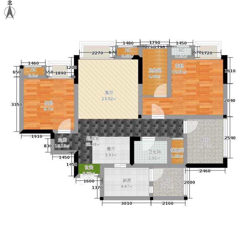 风花树100.44㎡二期10号楼4号房户型2室2厅
