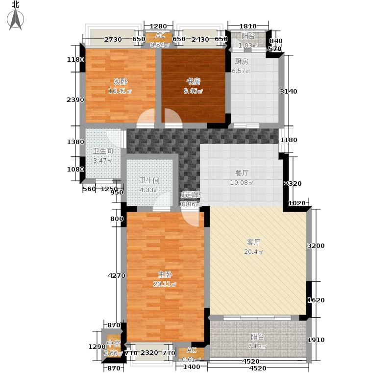 风花树126.53㎡1、2号楼高层A1、A2户型3室1厅