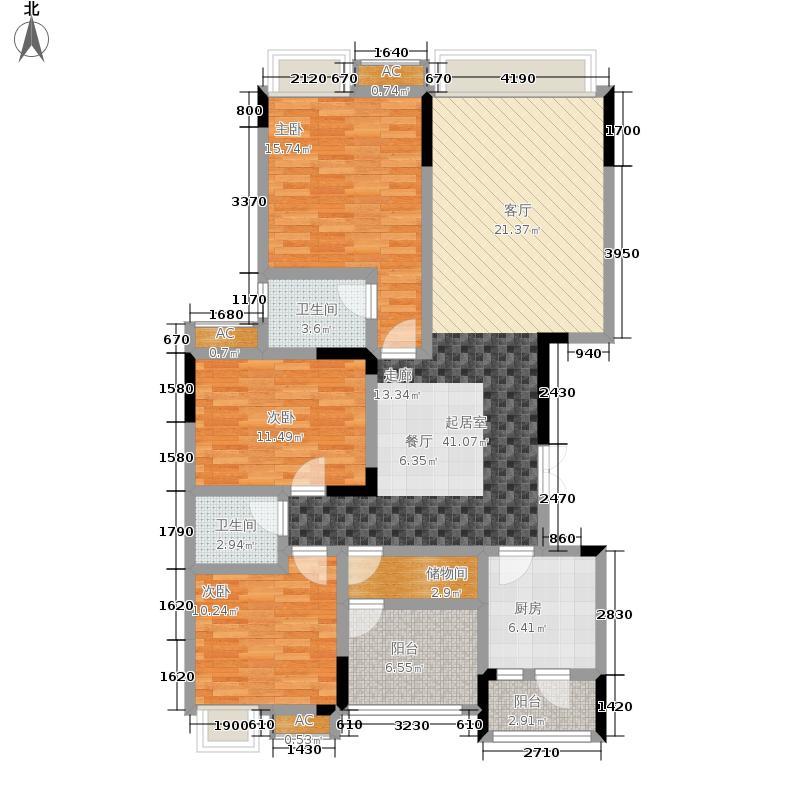 风花树139.00㎡3、4号楼A户型3室2厅