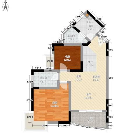 金银苑2室0厅2卫1厨64.00㎡户型图