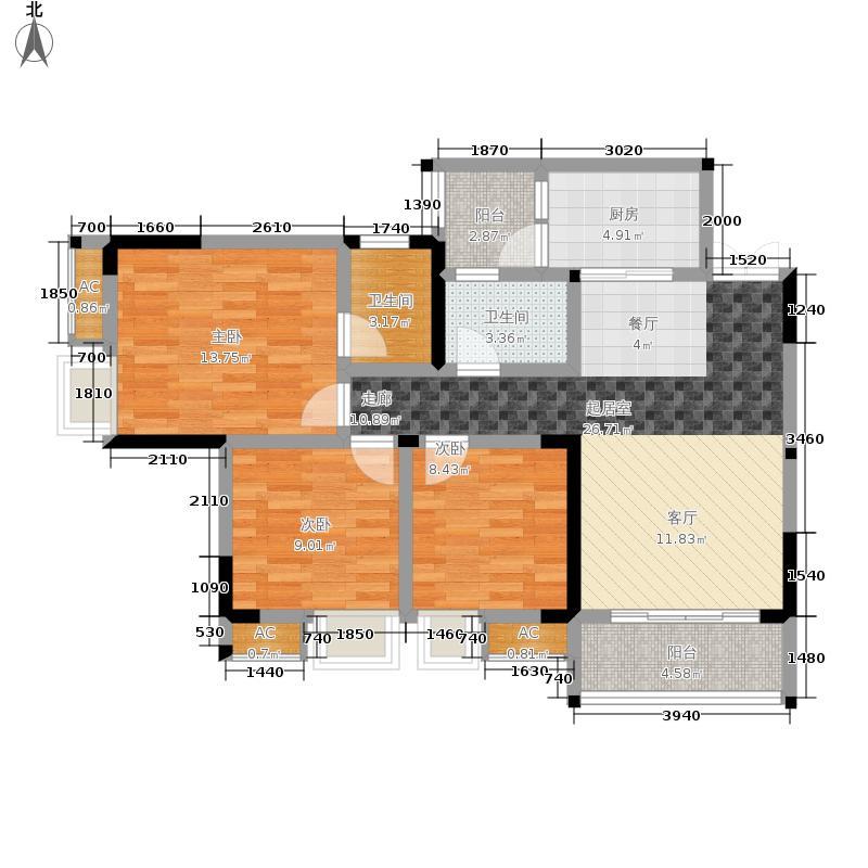 风花树107.34㎡8、9号楼1号房户型3室2厅