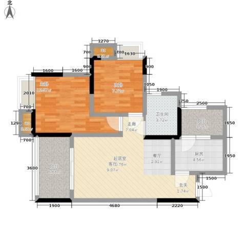 巨龙江山国际2室0厅1卫1厨77.00㎡户型图