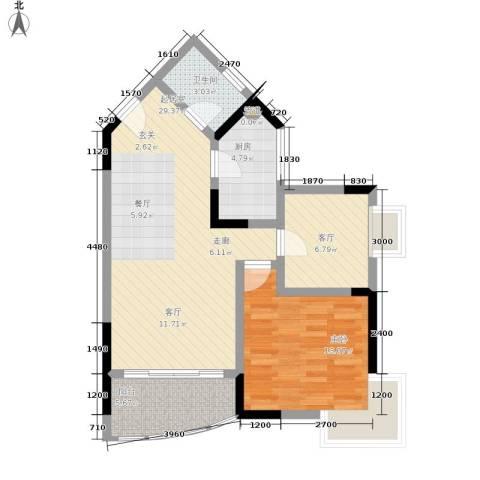 金银苑1室1厅1卫1厨64.00㎡户型图