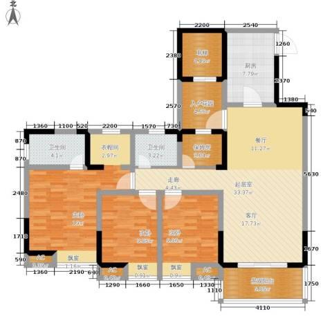 鸥鹏凤凰国际新城3室0厅2卫1厨125.00㎡户型图