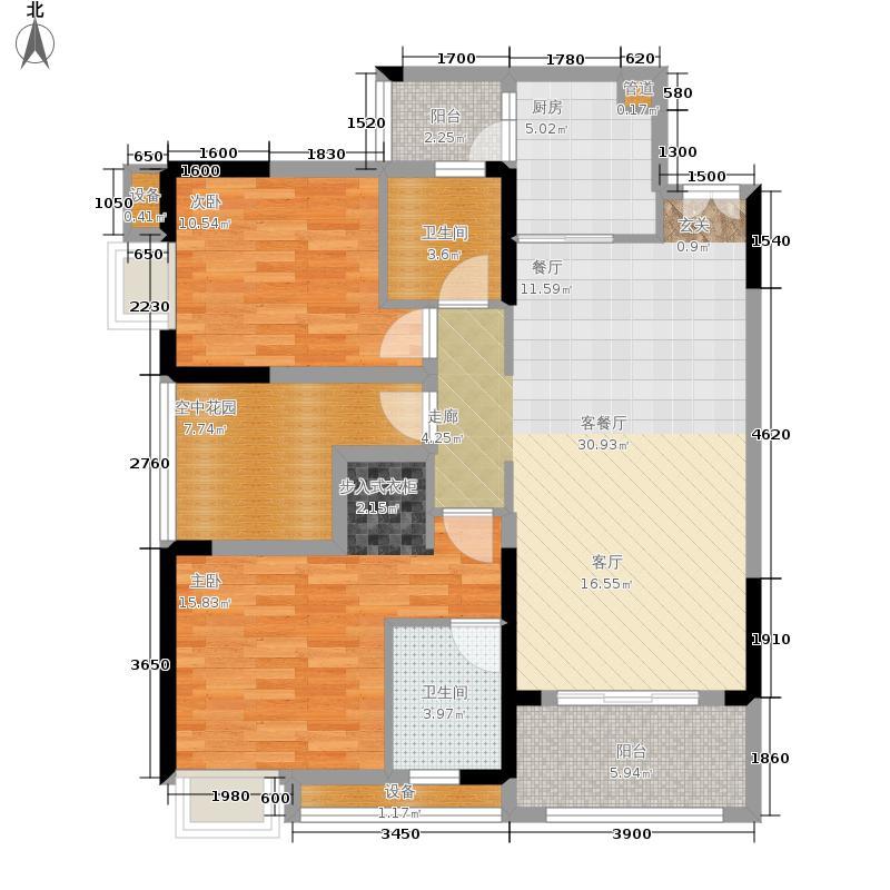 金科visar国际87.00㎡二期1号楼面积8700m户型
