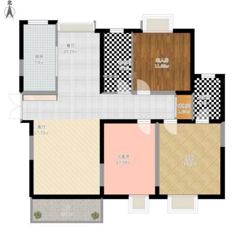 广厦水岸东方3室1厅2卫1厨174.00㎡户型图