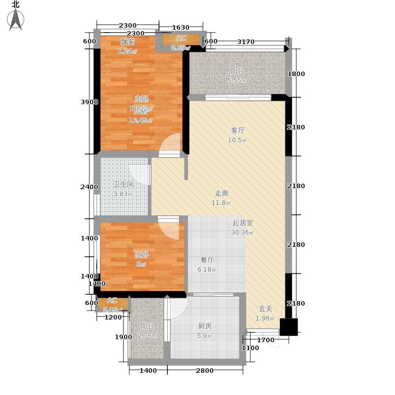 协信阿卡迪亚72.09㎡二期B3号楼面积7209m户型