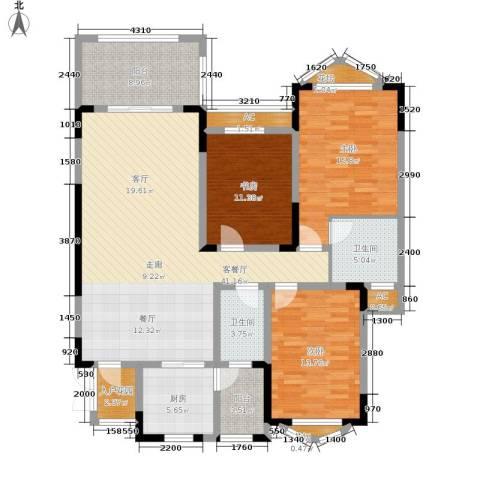 蓝光十里蓝山别墅3室1厅2卫1厨167.00㎡户型图