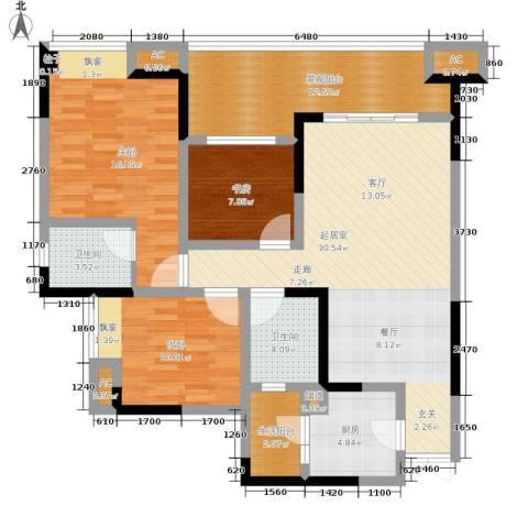 鸥鹏凤凰国际新城3室0厅2卫1厨110.00㎡户型图
