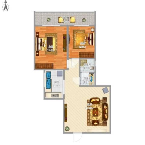 咸阳世纪锦城2室1厅2卫1厨89.00㎡户型图