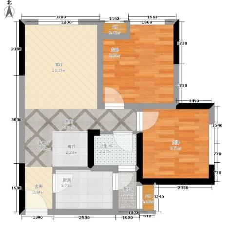 天生丽街2室1厅1卫1厨54.00㎡户型图