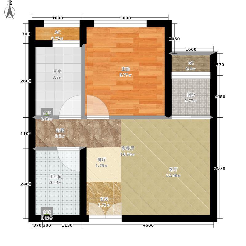 东亚望京中心A1a一室一厅一卫户型