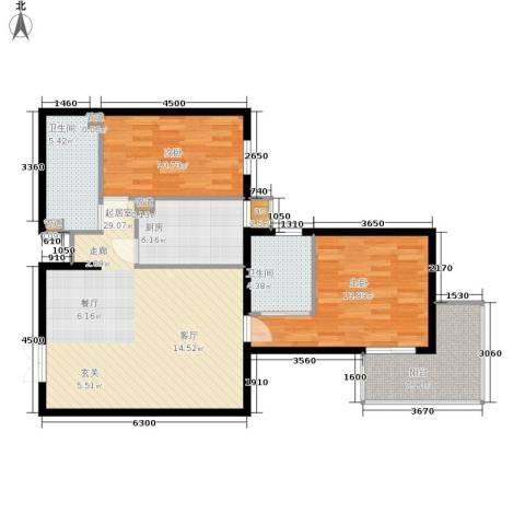 广厦经典2室0厅2卫1厨77.48㎡户型图