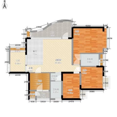 华宇江南枫庭3室0厅2卫1厨107.00㎡户型图
