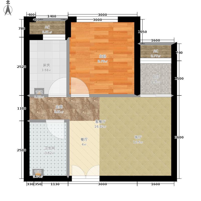 东亚望京中心B1a一室一厅一卫户型