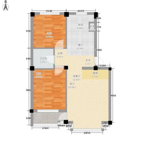 华宇凤凰城2室1厅1卫0厨68.00㎡户型图
