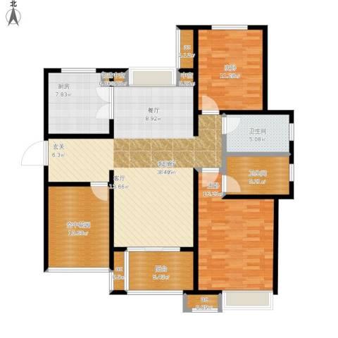 九龙仓时代上城年华里2室1厅2卫1厨145.00㎡户型图