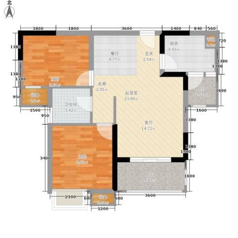 明华龙洲半岛四期老街古镇2室0厅1卫1厨77.00㎡户型图
