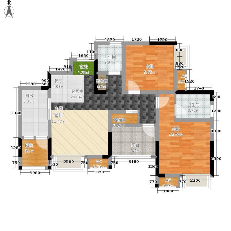 风花树95.19㎡二期10号楼3号房户型2室2厅