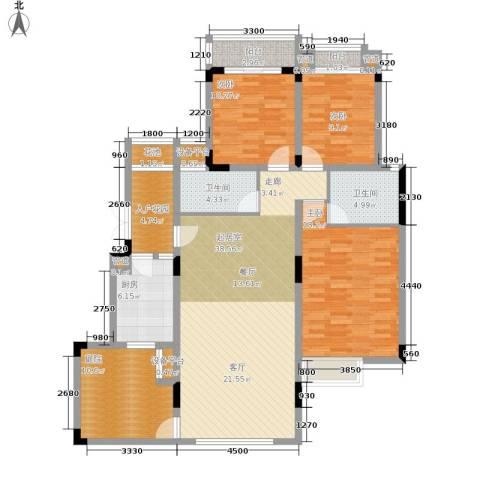 北温泉九号二期森邻海3室0厅2卫1厨131.54㎡户型图