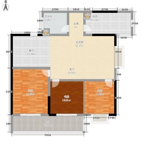 融城花苑3室0厅1卫1厨140.00㎡户型图