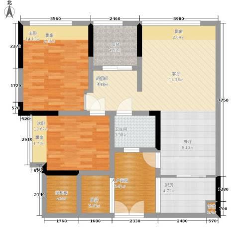 中瓯璧河名都2室0厅1卫1厨87.00㎡户型图