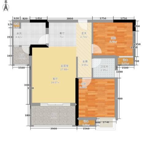 明华龙洲半岛四期老街古镇2室0厅1卫1厨83.00㎡户型图
