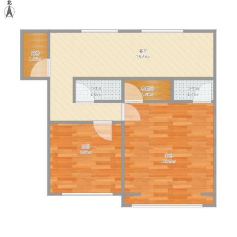 物资学院家属园2室1厅2卫1厨67.00㎡户型图