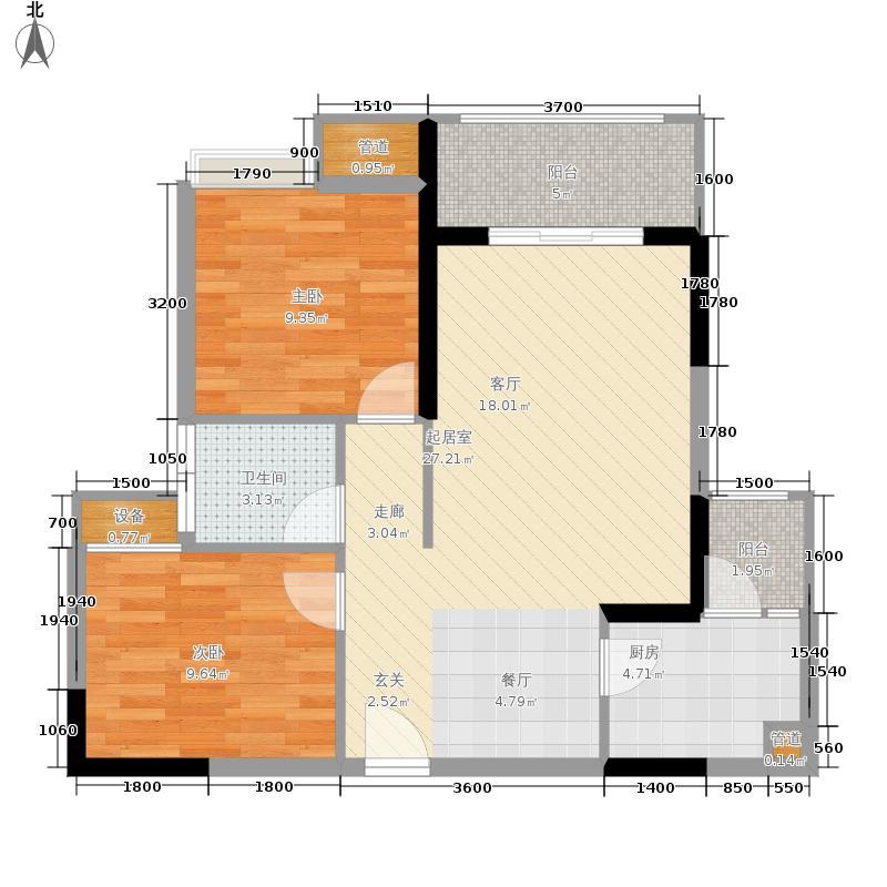 明华龙洲半岛四期老街古镇81.04㎡一期3、4、5栋标准层2/3号房户型
