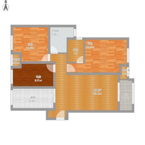中海御景湾24-23063室1厅1卫1厨133.00㎡户型图