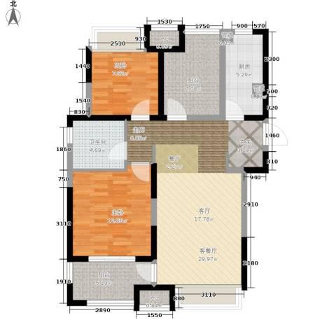 金地格林世界森林公馆2室1厅1卫1厨110.00㎡户型图