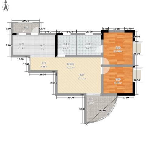 巴蜀怡苑2室0厅2卫0厨77.00㎡户型图