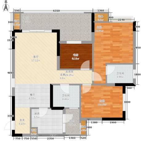 明华龙洲半岛四期老街古镇3室0厅2卫1厨114.00㎡户型图