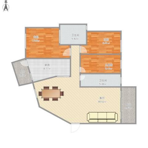丰泽湖山庄3室1厅2卫1厨132.00㎡户型图