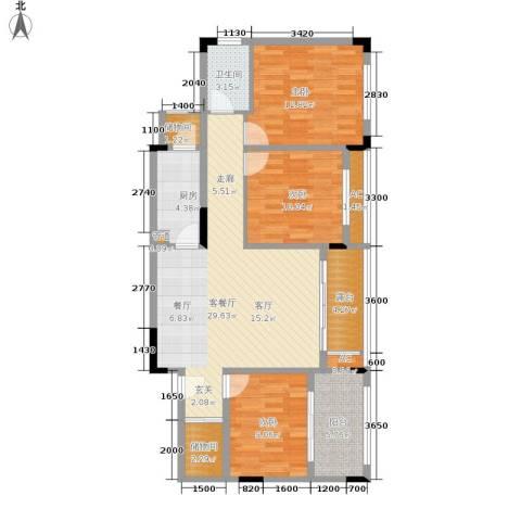 金科开州财富中心3室1厅1卫1厨100.00㎡户型图