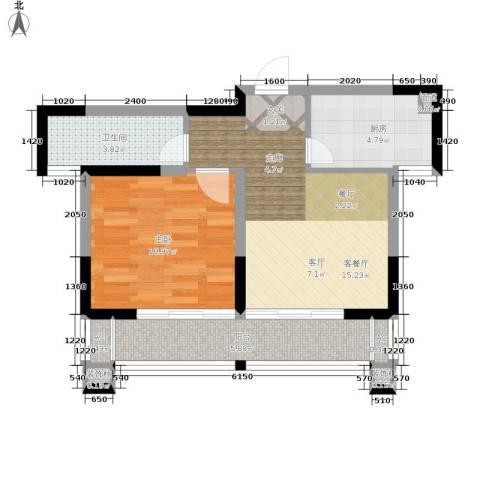 梦里水乡花园1室1厅1卫1厨50.00㎡户型图