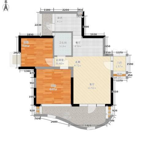 华宇江南枫庭2室0厅1卫1厨68.00㎡户型图