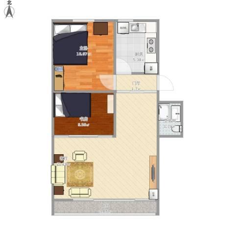 顺义义宾南区2室1厅1卫1厨69.00㎡户型图