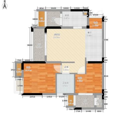 保利可爱岛2室0厅1卫1厨63.00㎡户型图