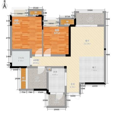 保利可爱岛2室0厅1卫1厨74.00㎡户型图