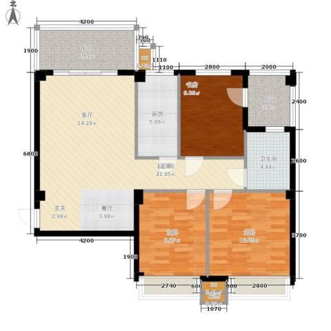 明发城市广场3室0厅1卫1厨105.00㎡户型图