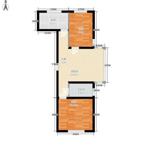 博达英郡2室0厅1卫1厨74.00㎡户型图