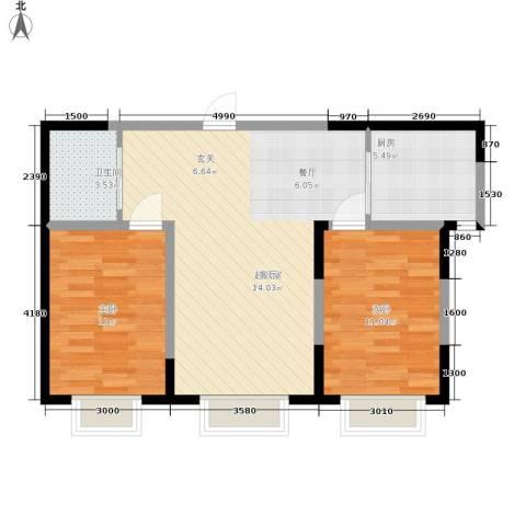 渤海山水云天2室0厅1卫1厨81.00㎡户型图