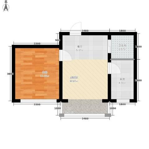 金地卡诗维亚1室0厅1卫1厨49.00㎡户型图