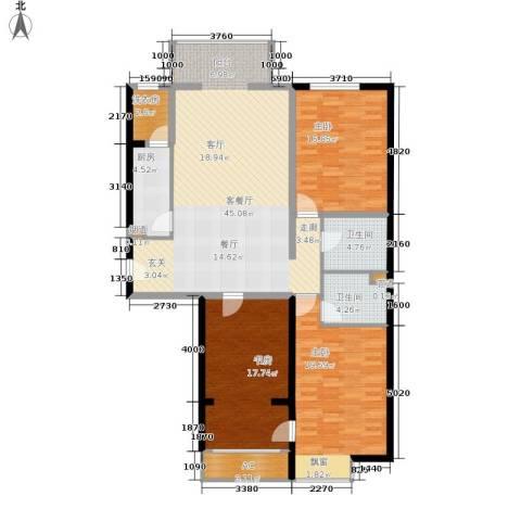 龙熙半岛3室1厅2卫1厨165.00㎡户型图